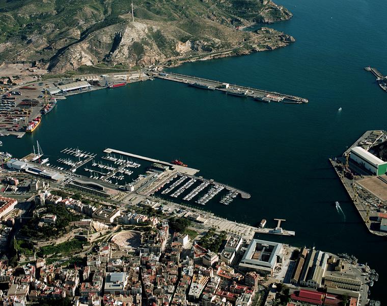 Vista aérea del puerto de Cartagena