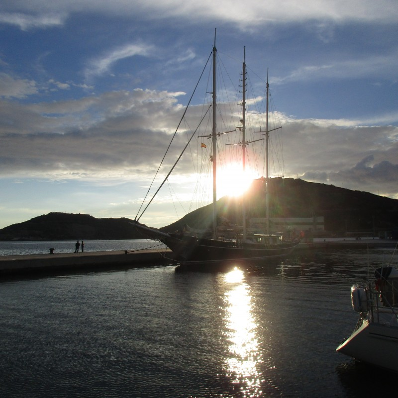 The sailing yacht Malcom Miller moored at Yacht Port Cartagena