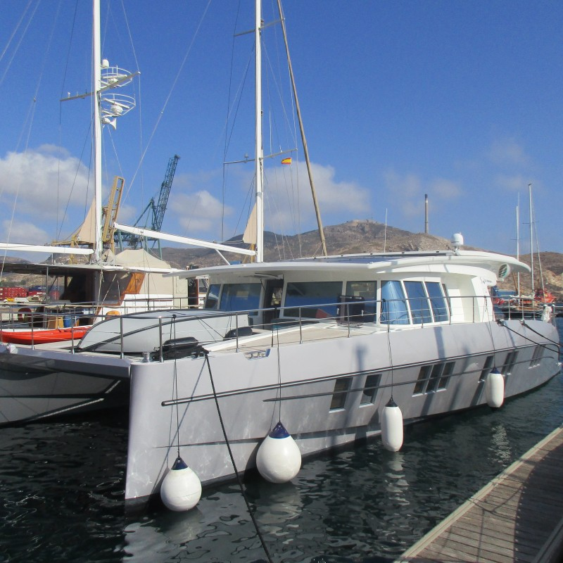 Solarwave catamaran moored at Yacht Port Cartagena
